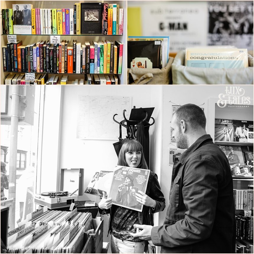 The Inkwell Record shop in York engagement photography