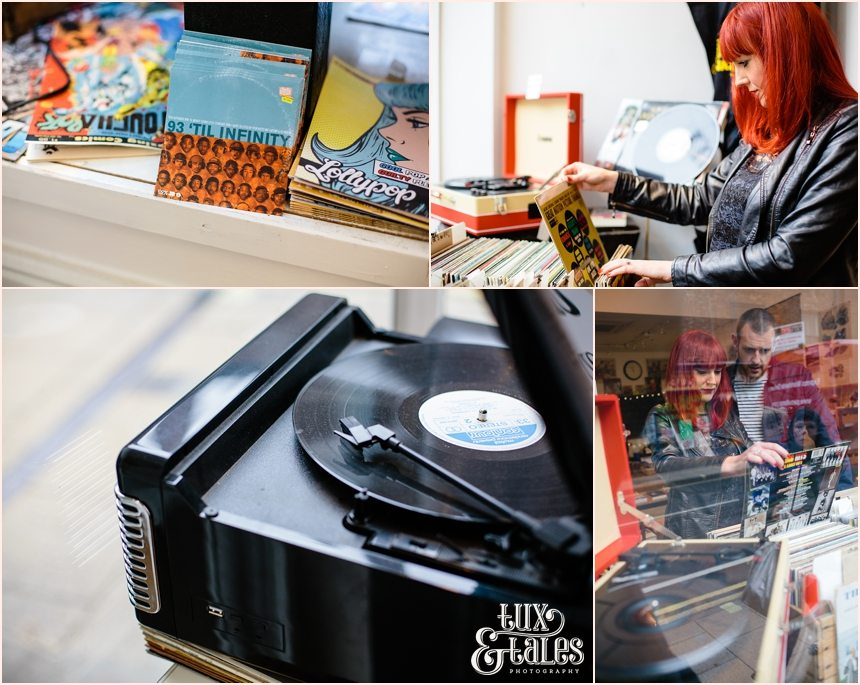 Record shop engagement shoot in York