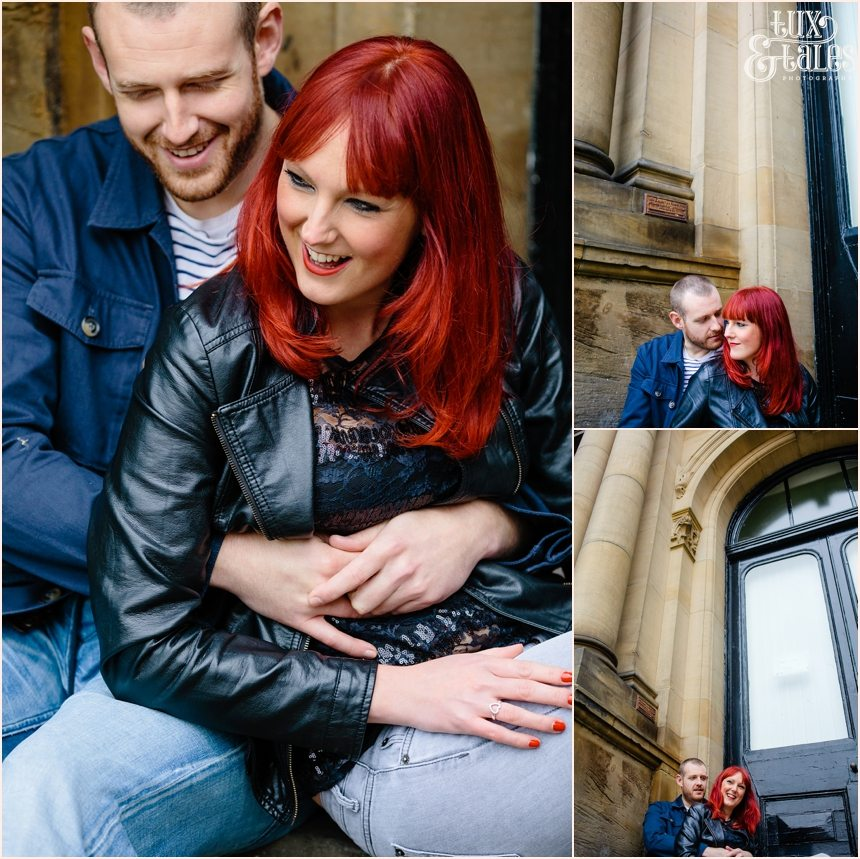 York engagement phtoography rocker couple with red hair