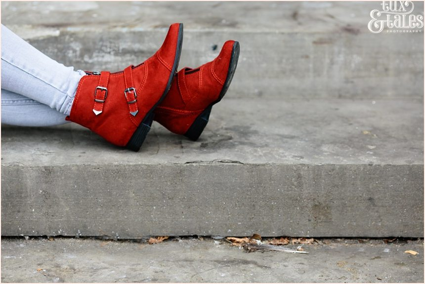 Red leather boots york