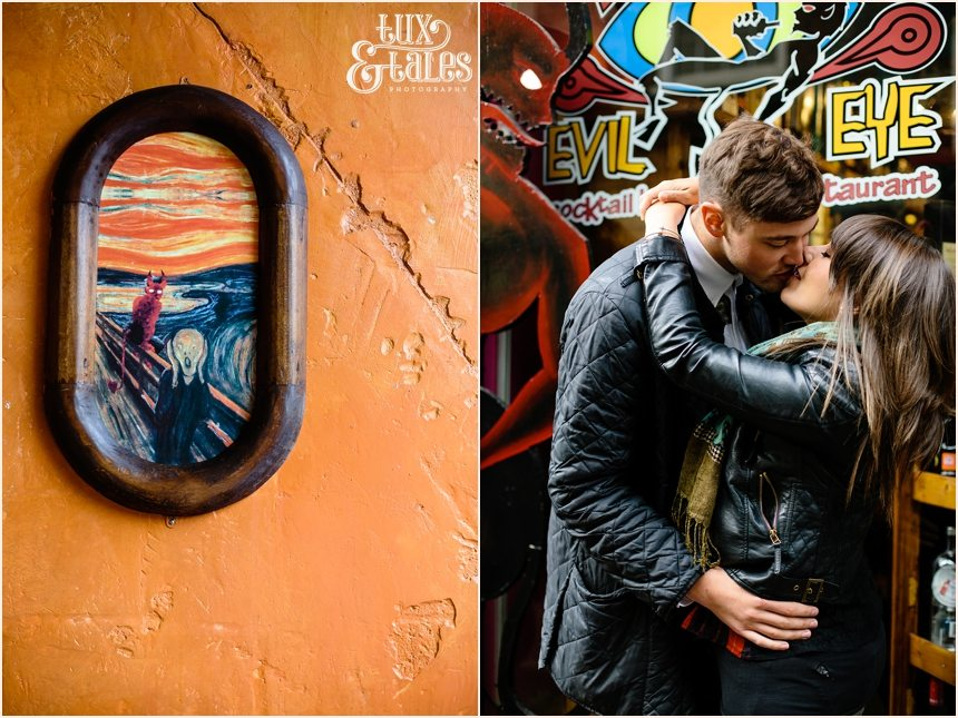 Evil Eye Engagement Shoot in York with couple in leather coats