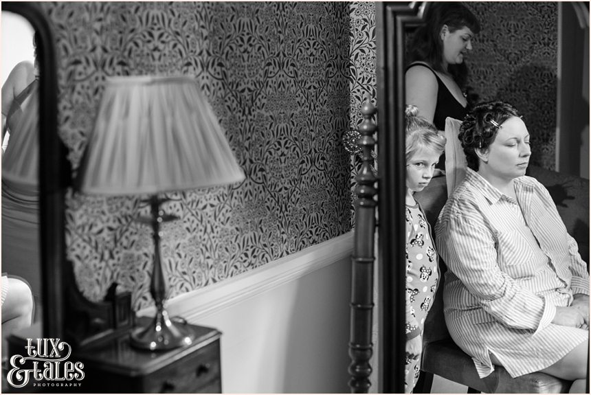 1950s inspired Wedding Photography Bride getting ready