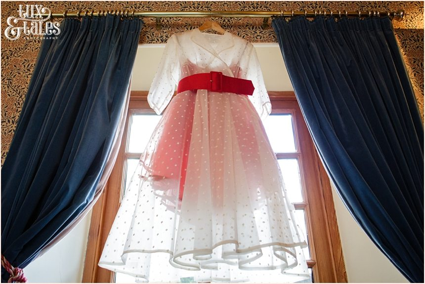 Red and white wedding dress couture company
