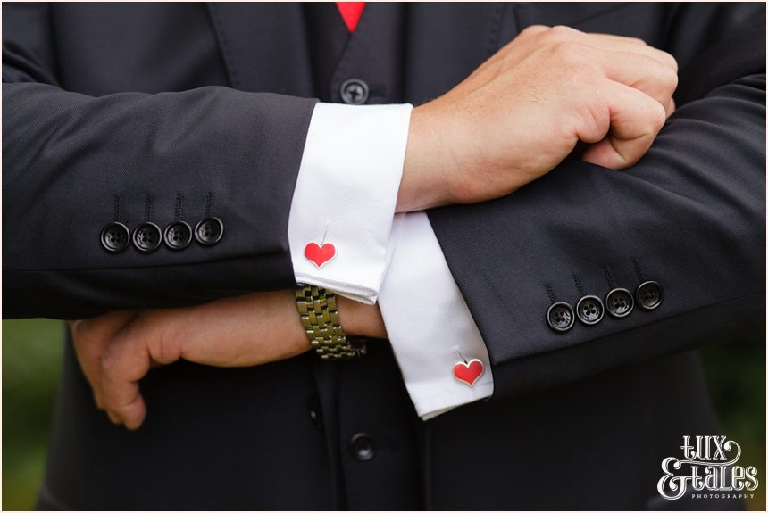 Heart shaped cuff links in Yorkshire wedding