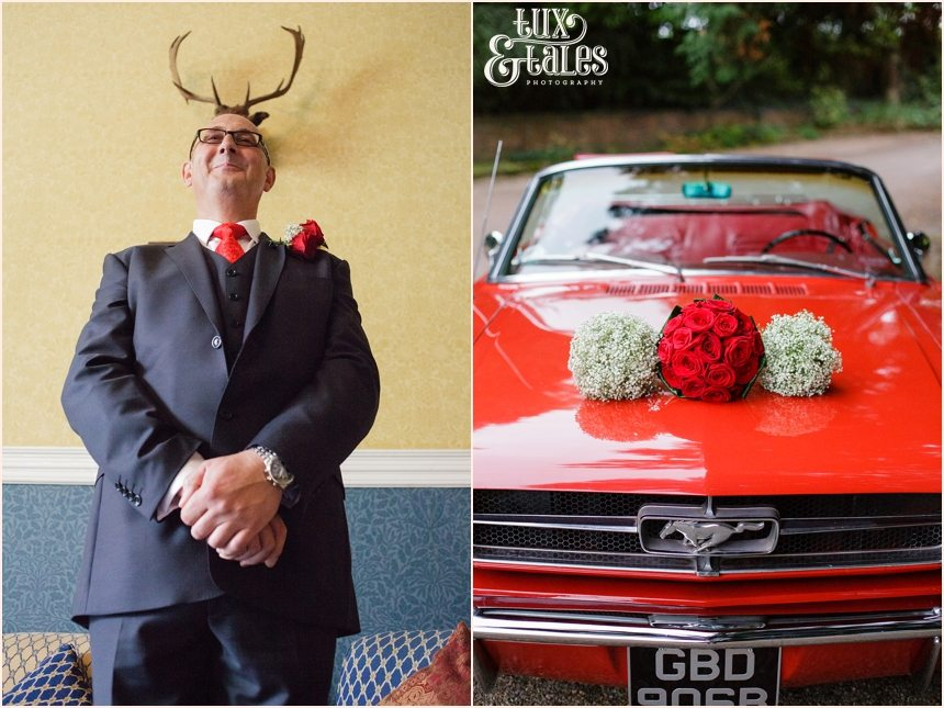 Groom with stag horns over head and bouquets resting atop a classic red Mustang