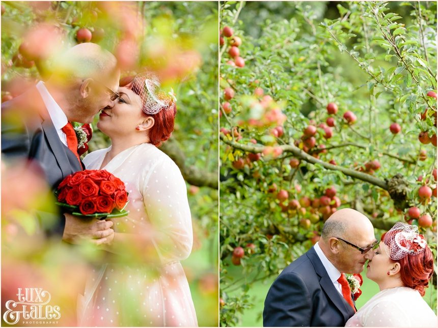 Wedding photography poses at vintage themed wedding in apple orachard