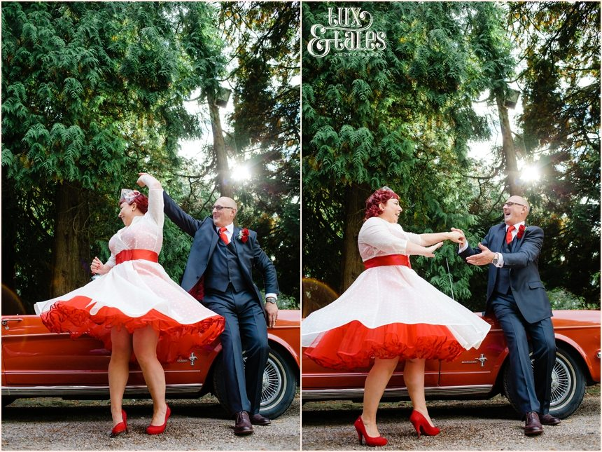 Bride and groom dancing in front of vintage mustang red heart details photographyt