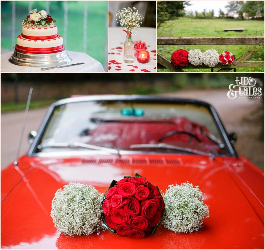 Red heart detail vintage wedding with msutang in Yorkshire