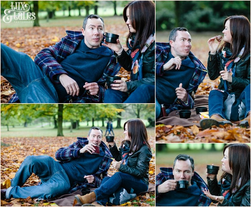 Autumne ngagement shoot with tea cakes and whiskey in gold leaves