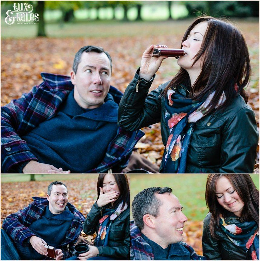 Whiskey picnic engagement shoot york