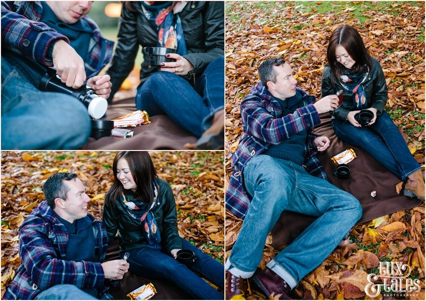 Autumn engagement shoot with tunnock tea cakes