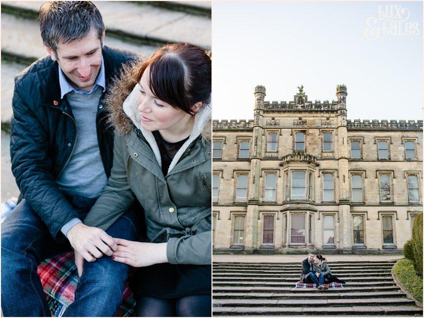 Engagement shoot in autumn at elvaston castle