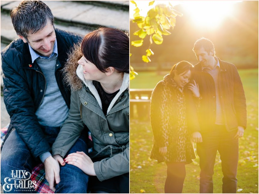 Autumn engagement photography session at elvaston castle with couple in the sunset light