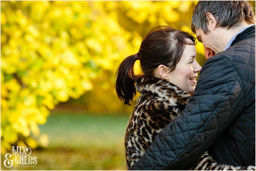 Autumn colours engagement shoot leopard print jacket