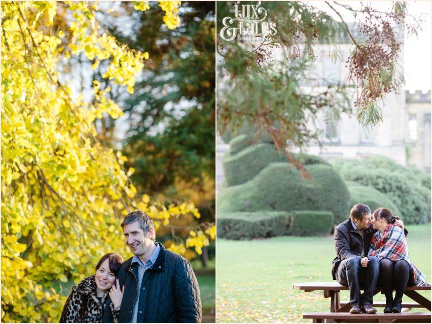 Elvaston Castle engagement shoot in autumn with tartn rug