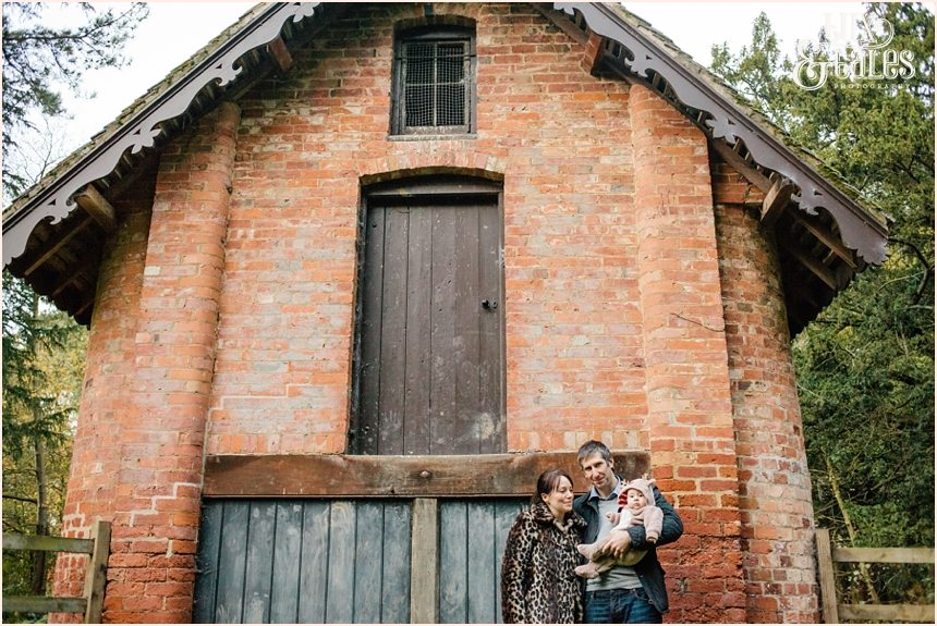 Family in front of barn at Elvaston castle