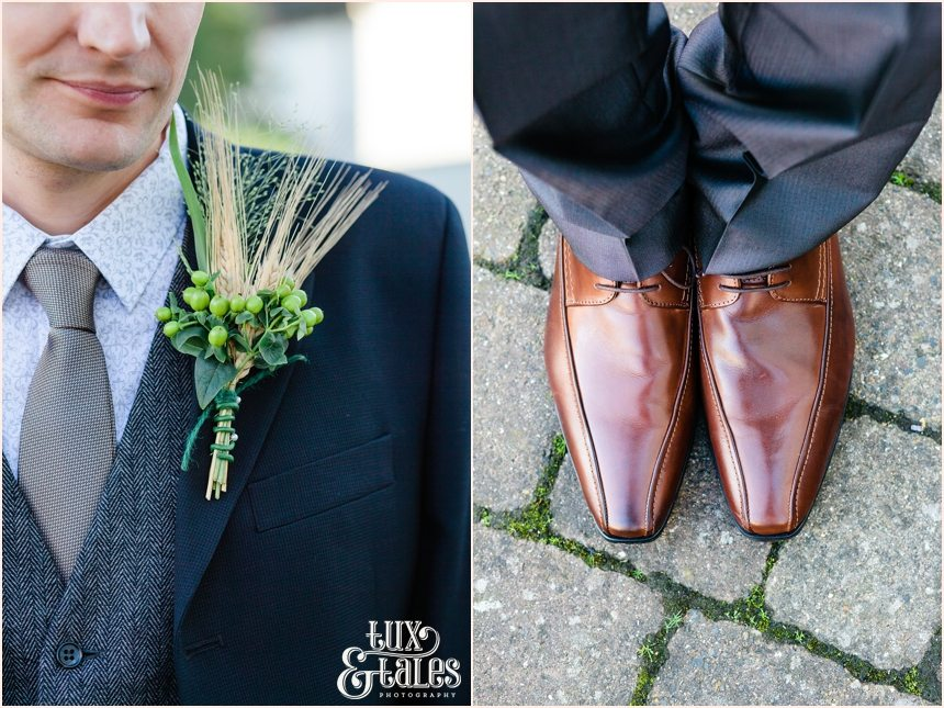 Groom details at autumn themed wedding