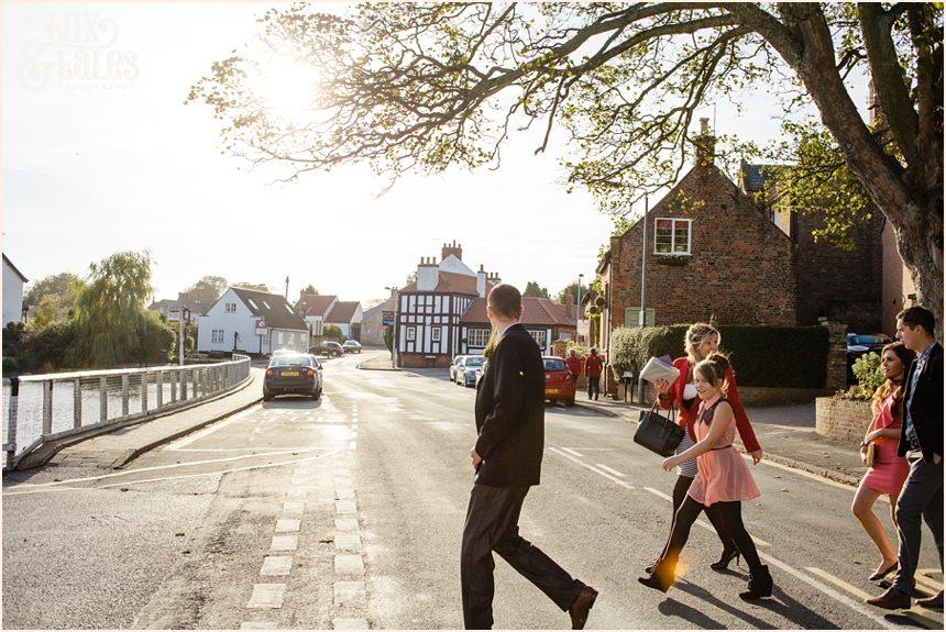 Swanland groom walks to wedding at Swanland Town Hall