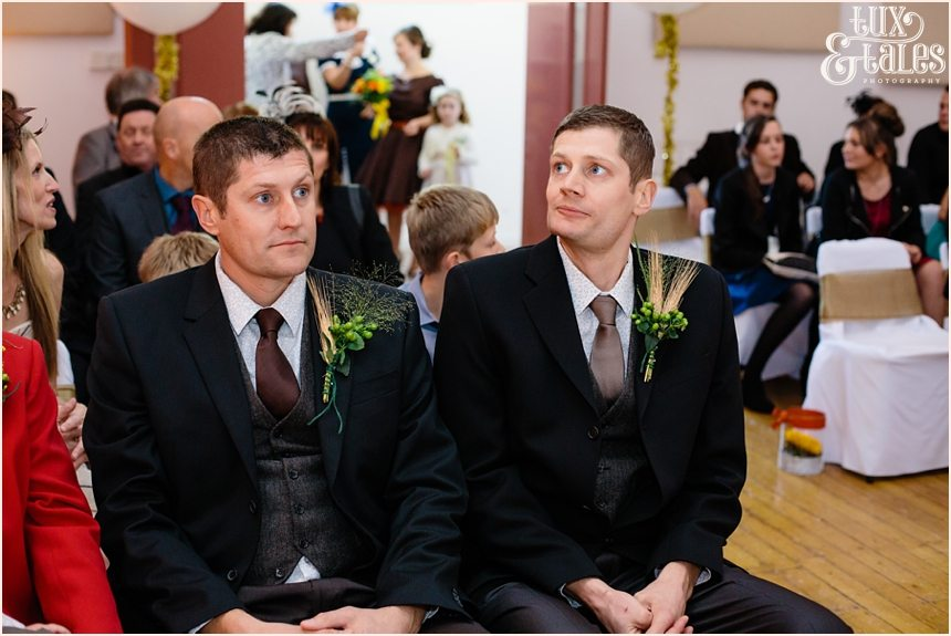 Groom waits during ceremony at Swanland wedding in Hull Yorkshire