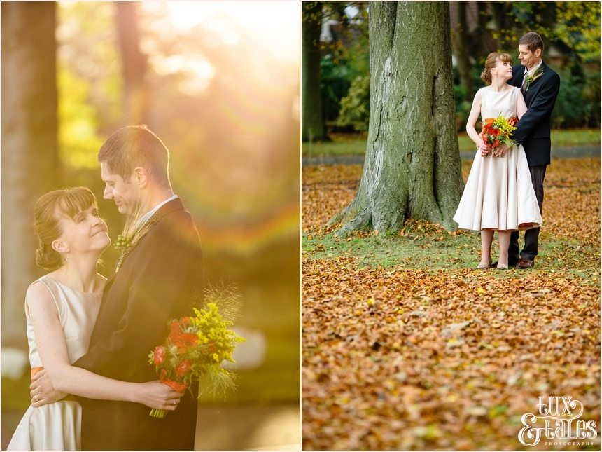 Bride and groom in Autumn leaves in Yorkshire swanland Hull