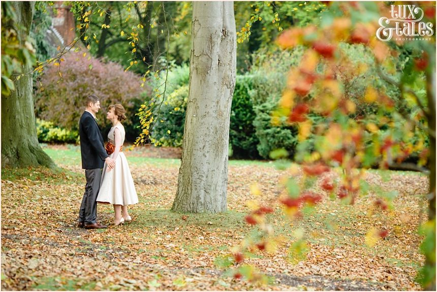 Yorkshire Autumnal wedding with leaves