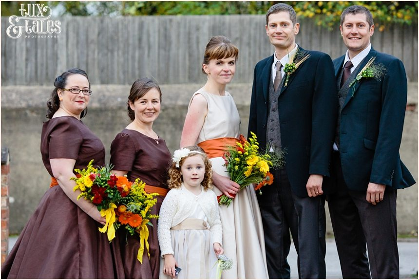 Autumn thtmed wedding bride and bridal party at Swanland Town Hall Yorkshire