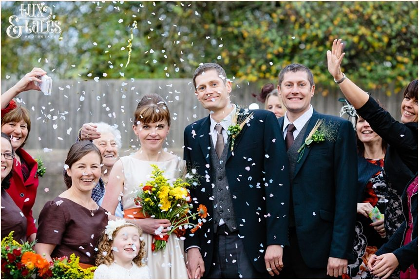 Confetti at Yorkshire Autumn wedding