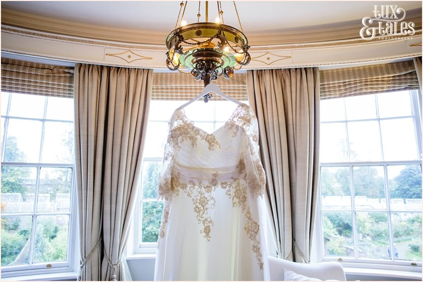 Gray's Court York Wedding White plus sized wedding dress with champaign details