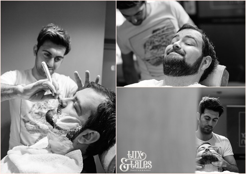 Groom getting wet shave York Cube hairdressers