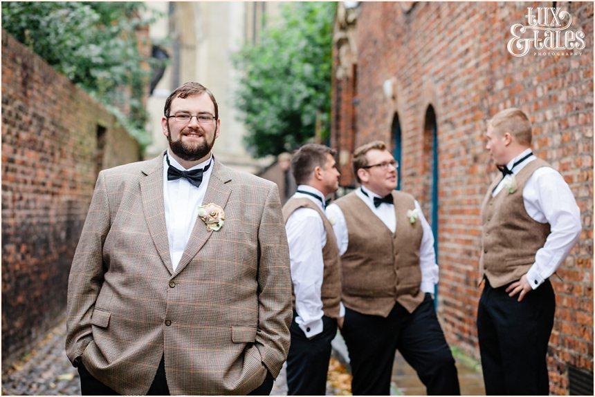 Groom and groomsmen in tweed at Yrok wedding Grays court