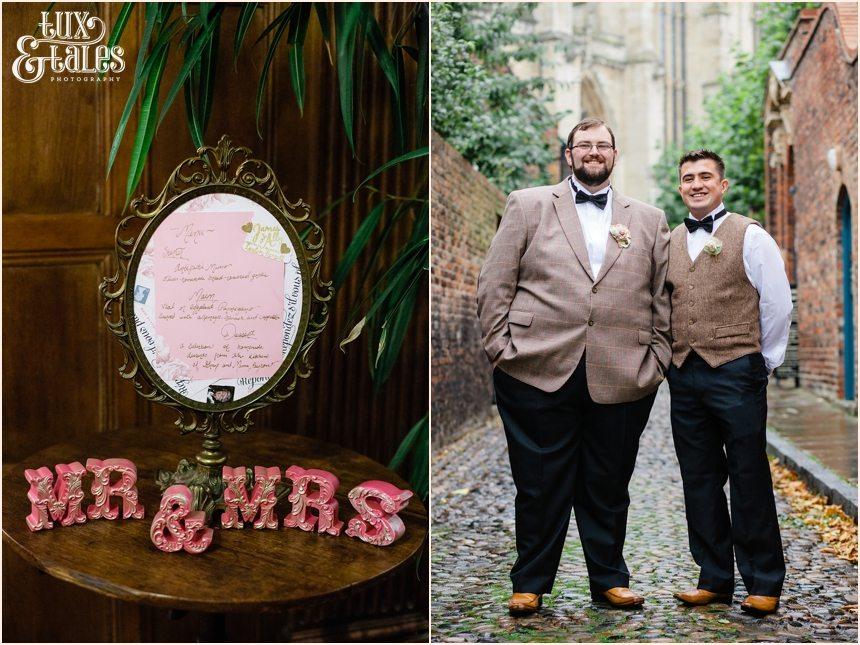 Groom and best man at York Wedding in Tweed