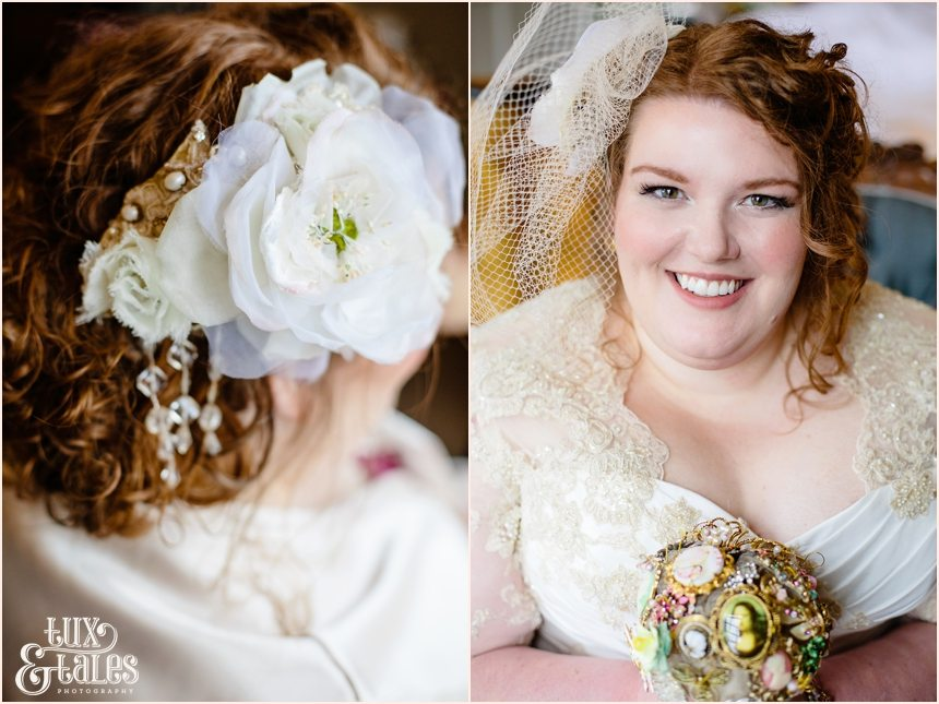 Beautiful, stylish plus sized bride holds brooch bouquet at York Wedding Grays Court