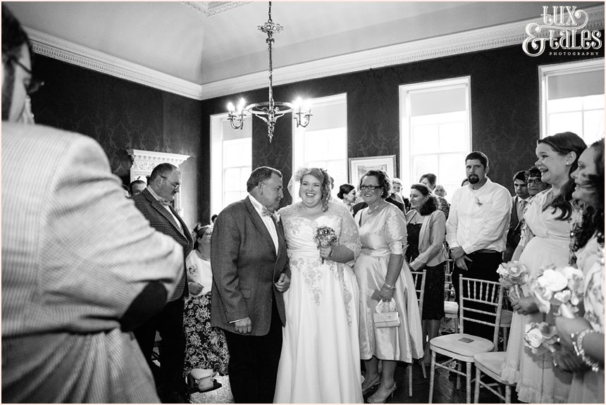 Emotionsal brides entrance at Gray's Court wedding