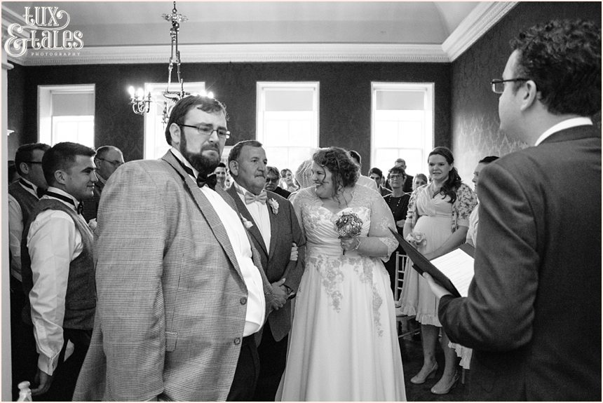 Groom crying at brdies entry at York wedding Grays Court