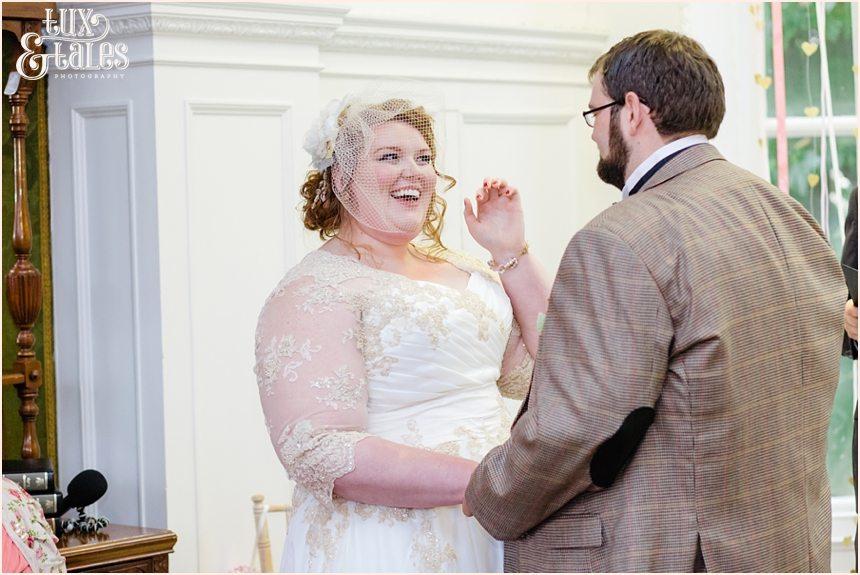 Bride smiles at Grays court wedding ceremony