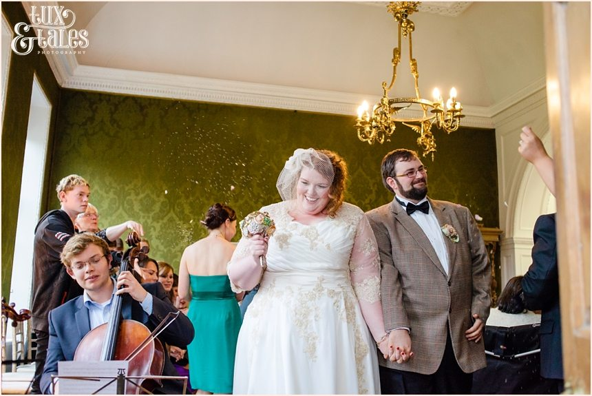 Bride and groom exit ceremony at Grays court Yrok Wedding