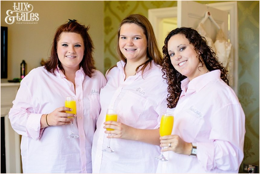 York bridesmaids weatring embroidered tpink shirts