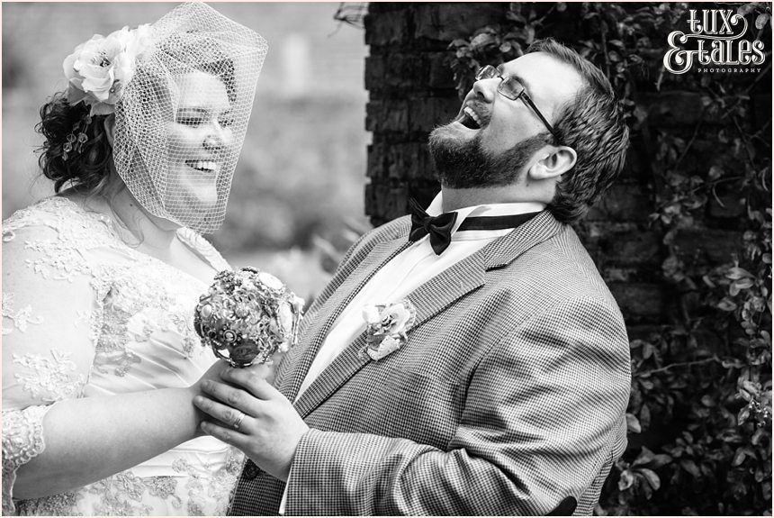 Bride and groom laughing at Grays court wedding