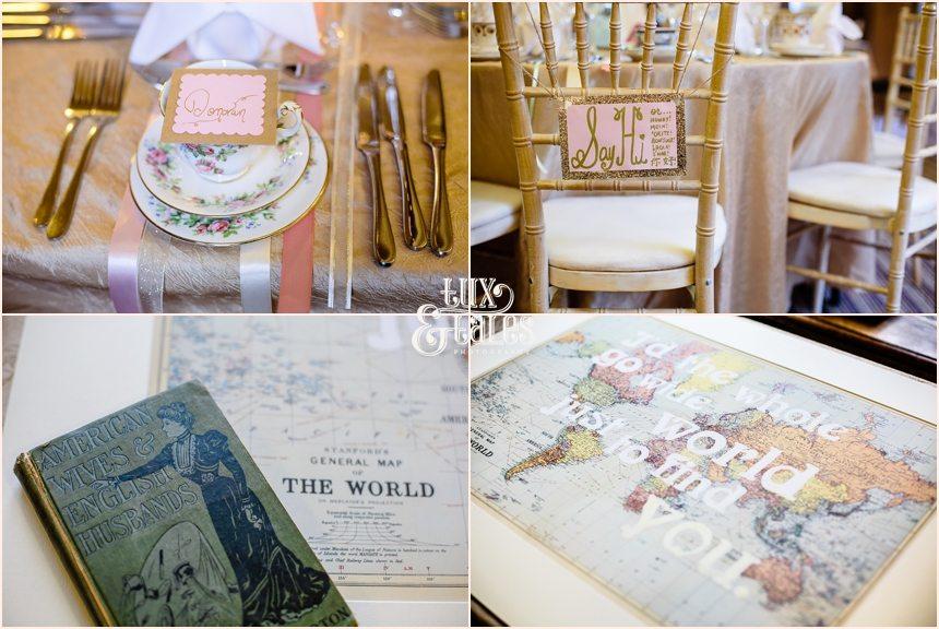 Pink travel details at York Wedding American Brdie