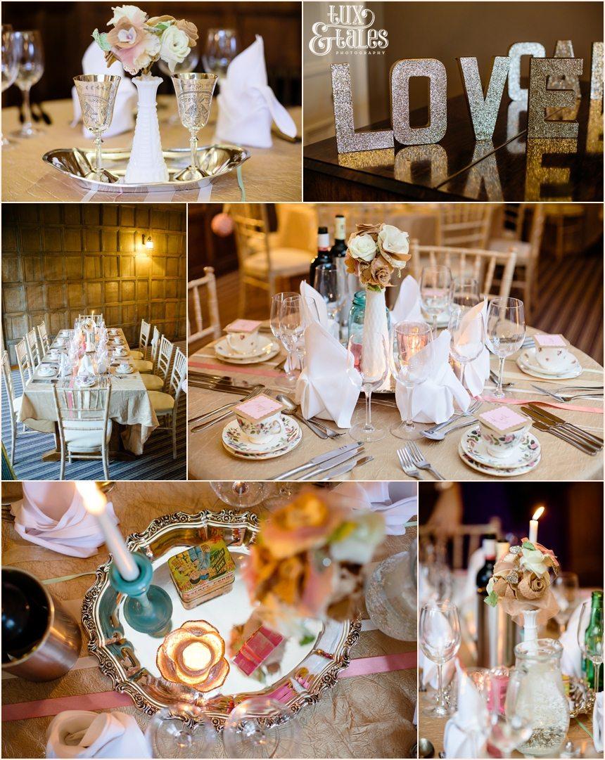 Vintage gold, pink and mint wedding details Grays Court York