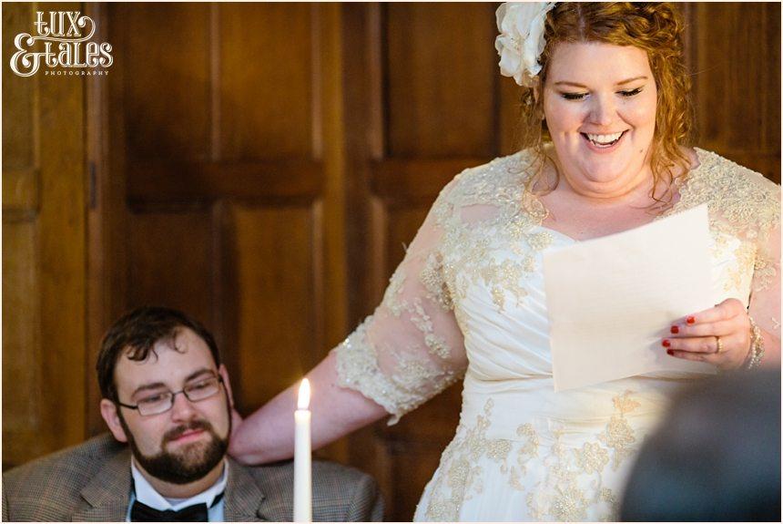 Bride gives speecha t wedding in york Grays Court