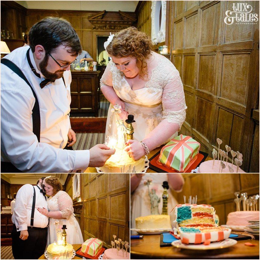 Union Jack and American Flag wedding cakes home made York wedding