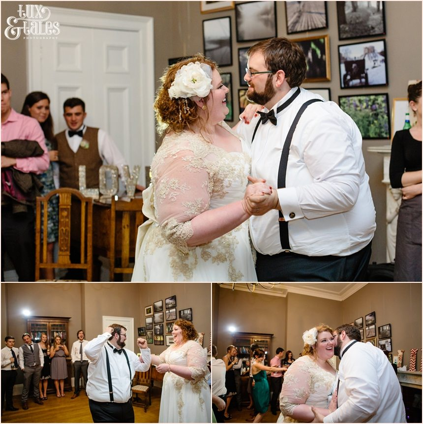 First dance with groom in braces and bow tie bride in lace details
