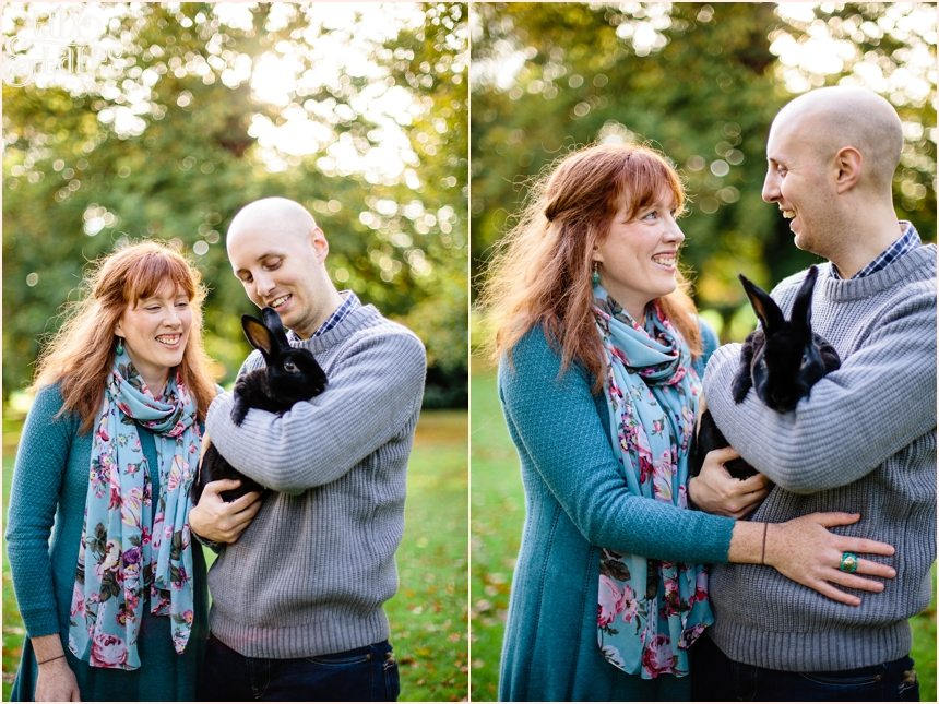 Engagement shoot poses with rabbit