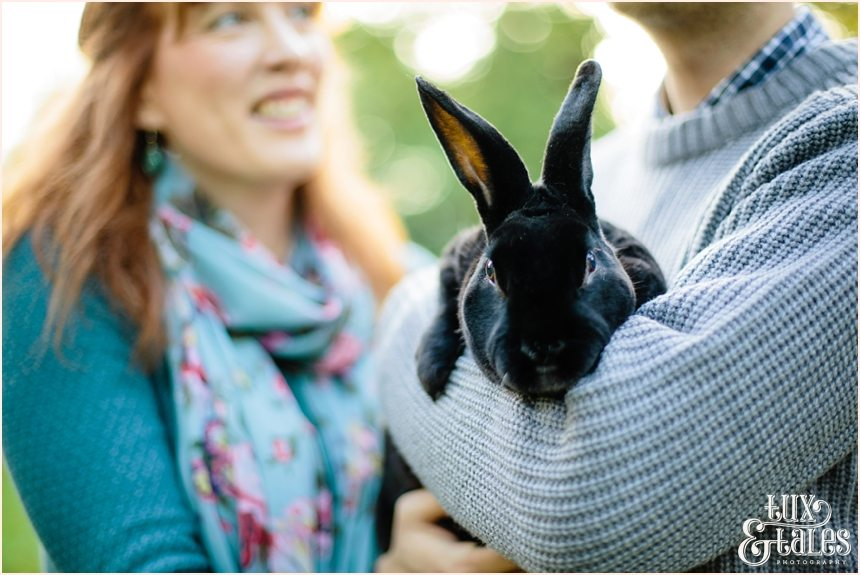 Engagement shoot with rabbit in autumn