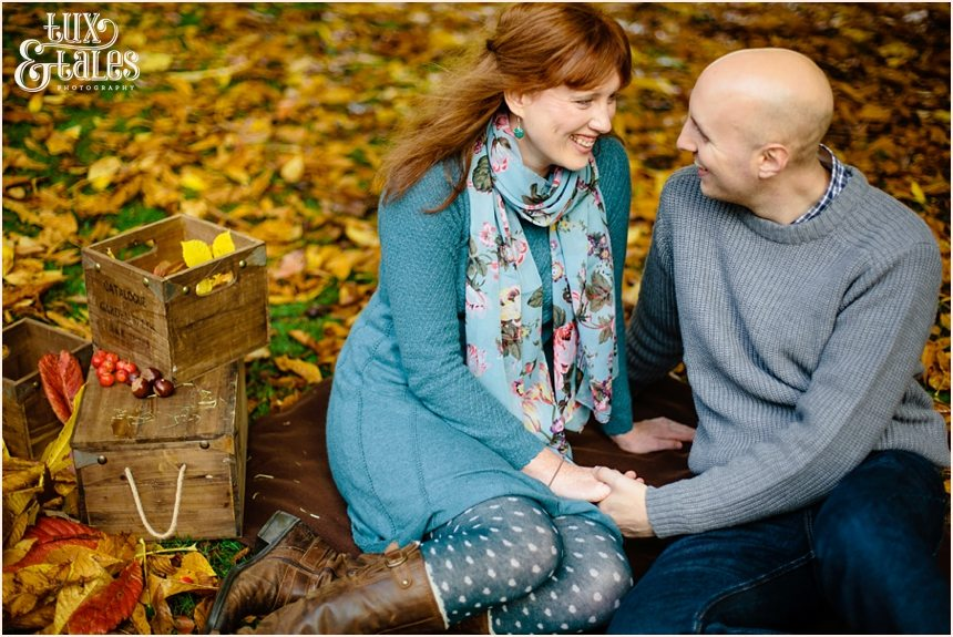 Autumn engagement shoot with golden leaves in Yorkshire