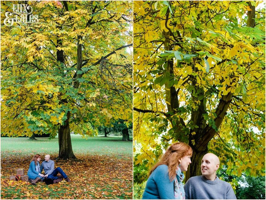 Autumn engagement shoot in York with golden leaves