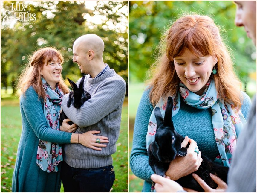 Engagement shoot in autumn with rabbit