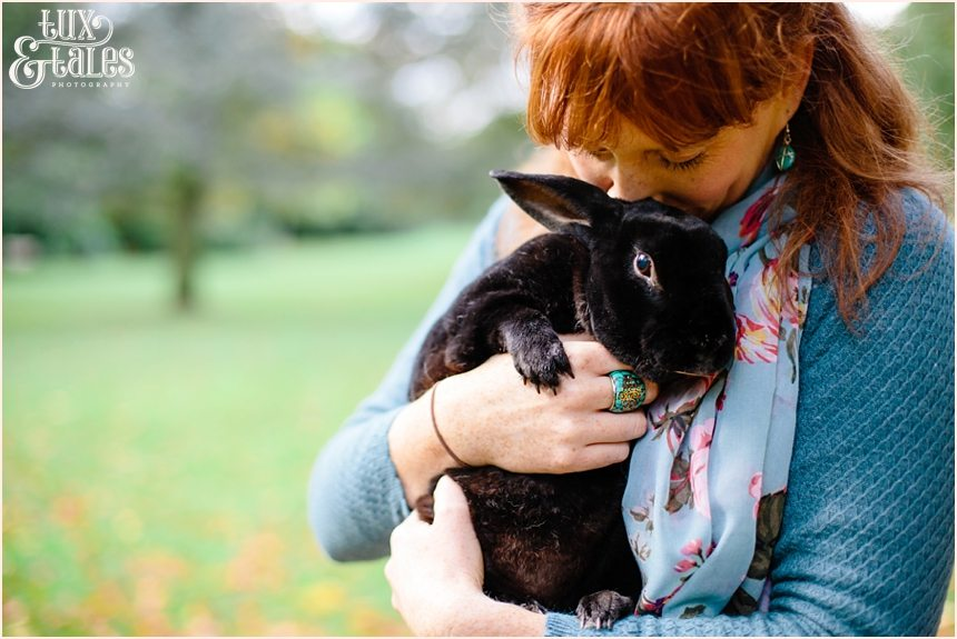 Engagement shoot with black bunny in York