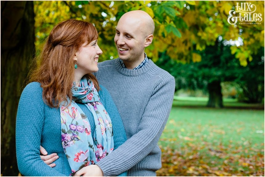 Engagement shoot in Yorkshire in Autumn with fallen leaves
